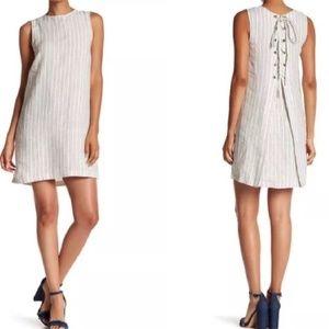 Theory Keshelle Striped Lace Up Linen Dress 4